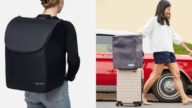 Two pictures with the Pico in backpacks.