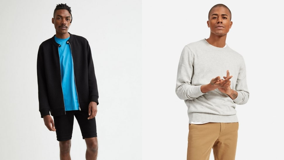 Man wearing blue t-shirt with black cardigan from H&M over it, man folding his hands while wearing grey crewneck sweatshirt from Everlane.