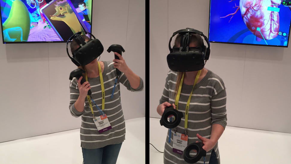HTC Vive showed off its new accessories, headsets, and demos.