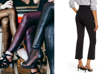Spanx leggings next to a woman in Spanx pants