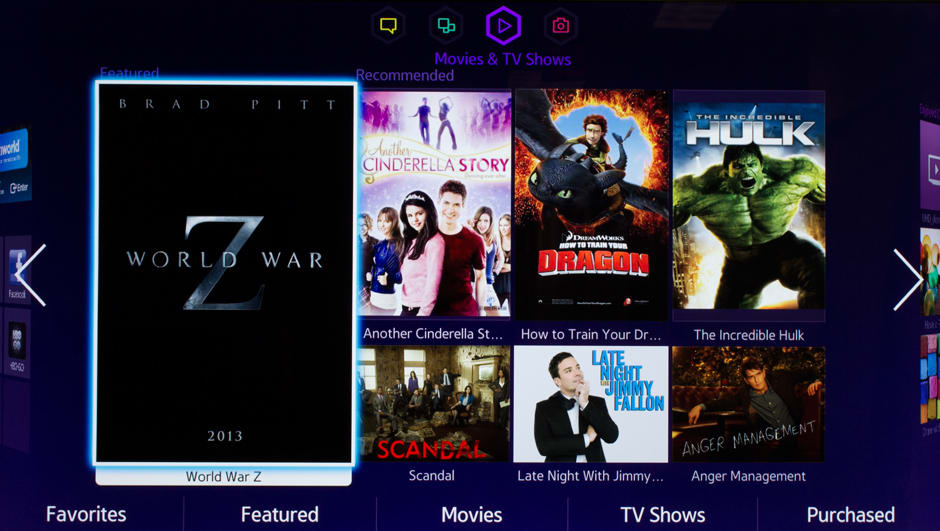 Samsung integrates live TV content into the Smart Hub interface, as well as popular movies.