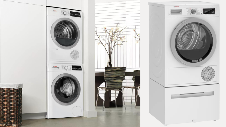 On right, stacked washer and dryer combo from Bosch in modern home. On left, single dryer from Bosch.