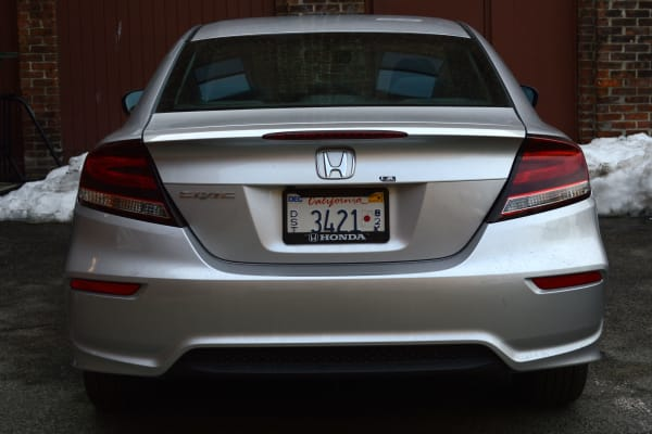 The new rear view of the 2014 Honda Civic Coupe.