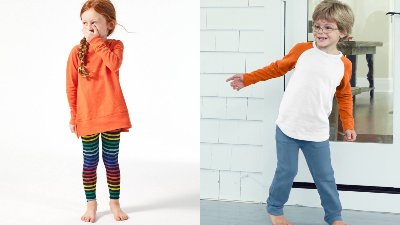 On the left: A young girl laughs with her hand over her mouth. On the left: A young boy dances on a front porch.