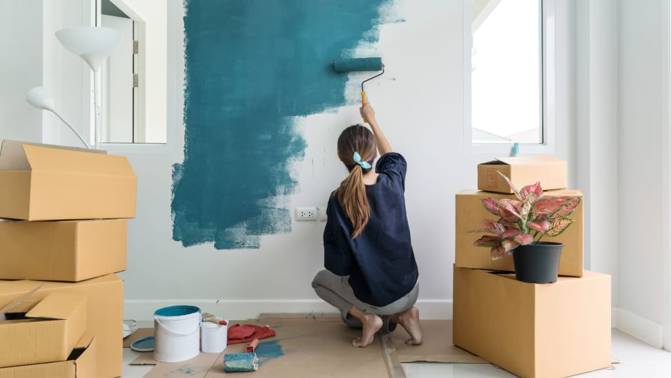 A person paints their white walls blue.