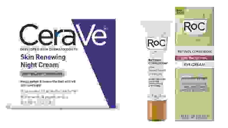A side-by-side of Cerave Night Cream & RoC Retinol Correxion Eye Cream