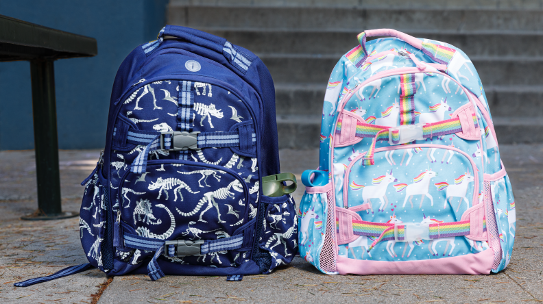 Two backpacks. One in blue with dinosaurs and one with pastel unicorns.