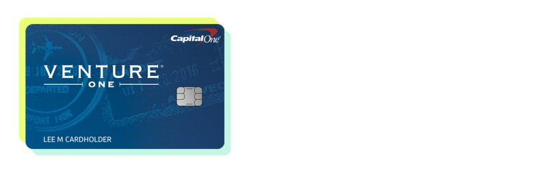 A Capital One VentureOne Rewards Credit Card with a blue and yellow border
