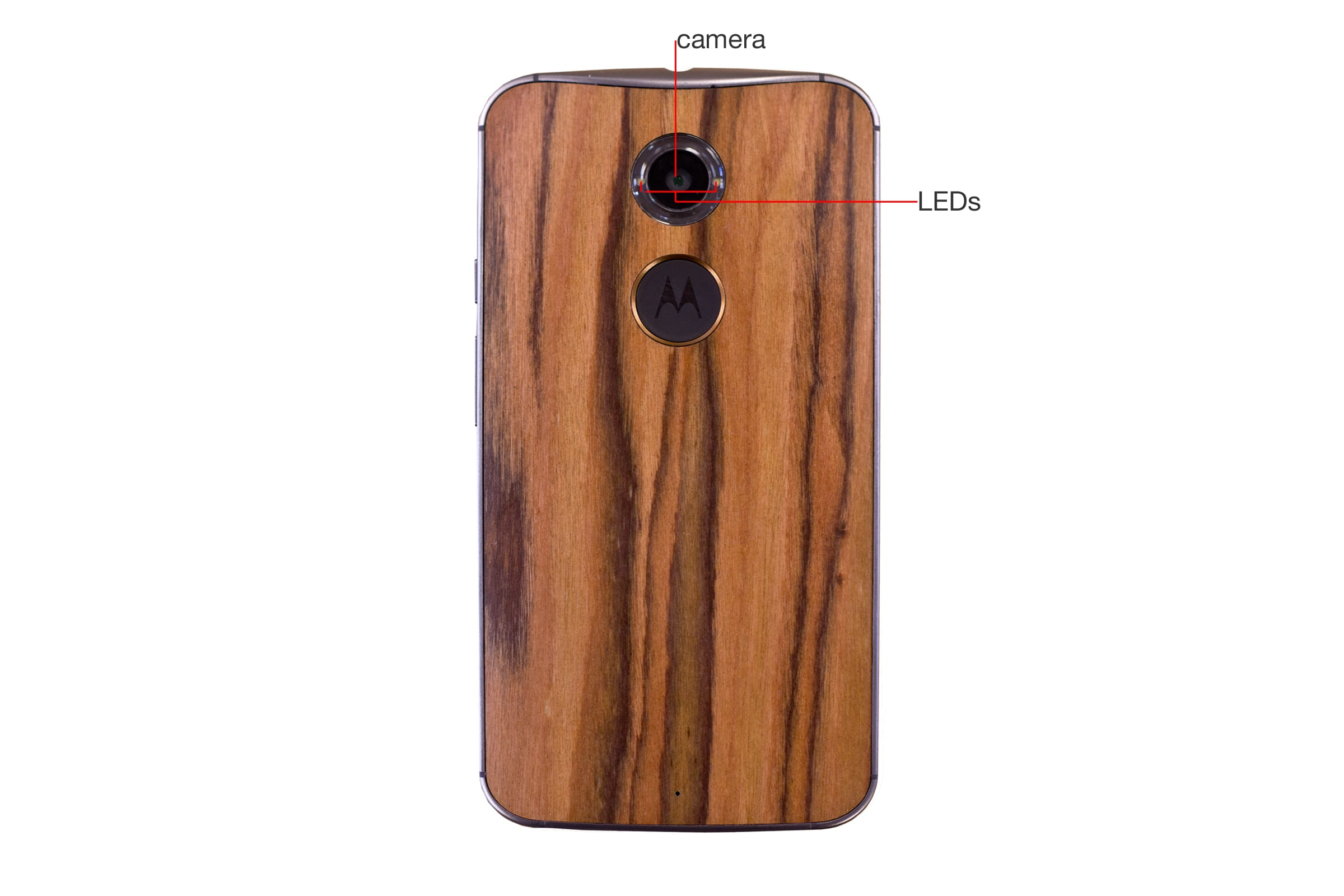 A callout image of the back of the Motorola Moto X 2014 Edition.