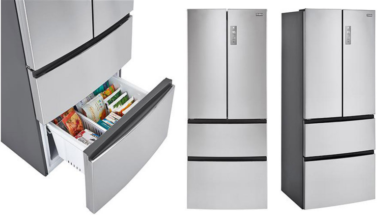 Three images of the same fridge, one of just the bottom drawer, the other of a forward facing angle and the other seen from the side.