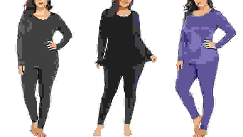 Three women wearing long johns