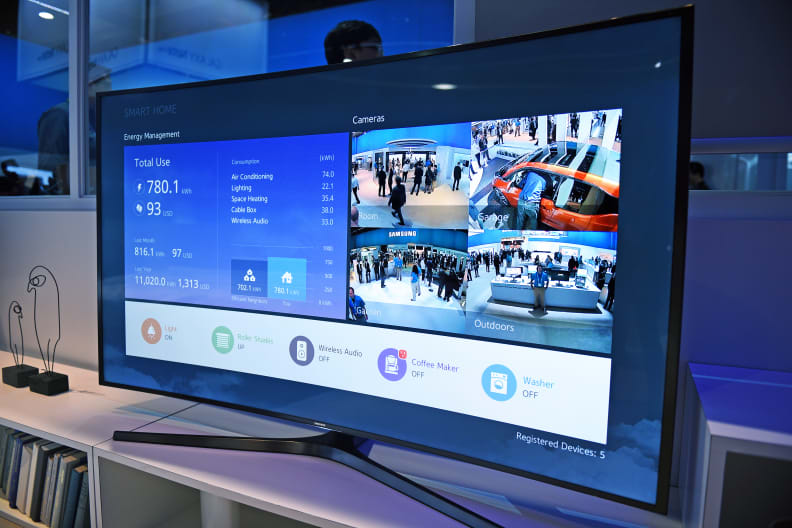Smart TV's can act as a hub for controlling the sensors.