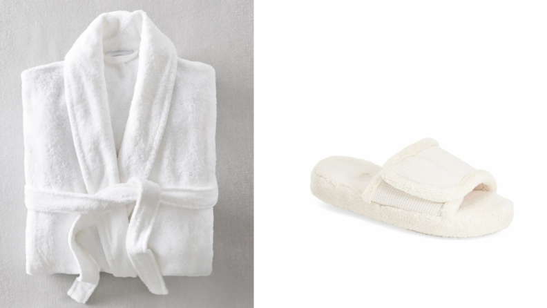 On the left, a white robe folded up. On the right, a white sandal slipper.