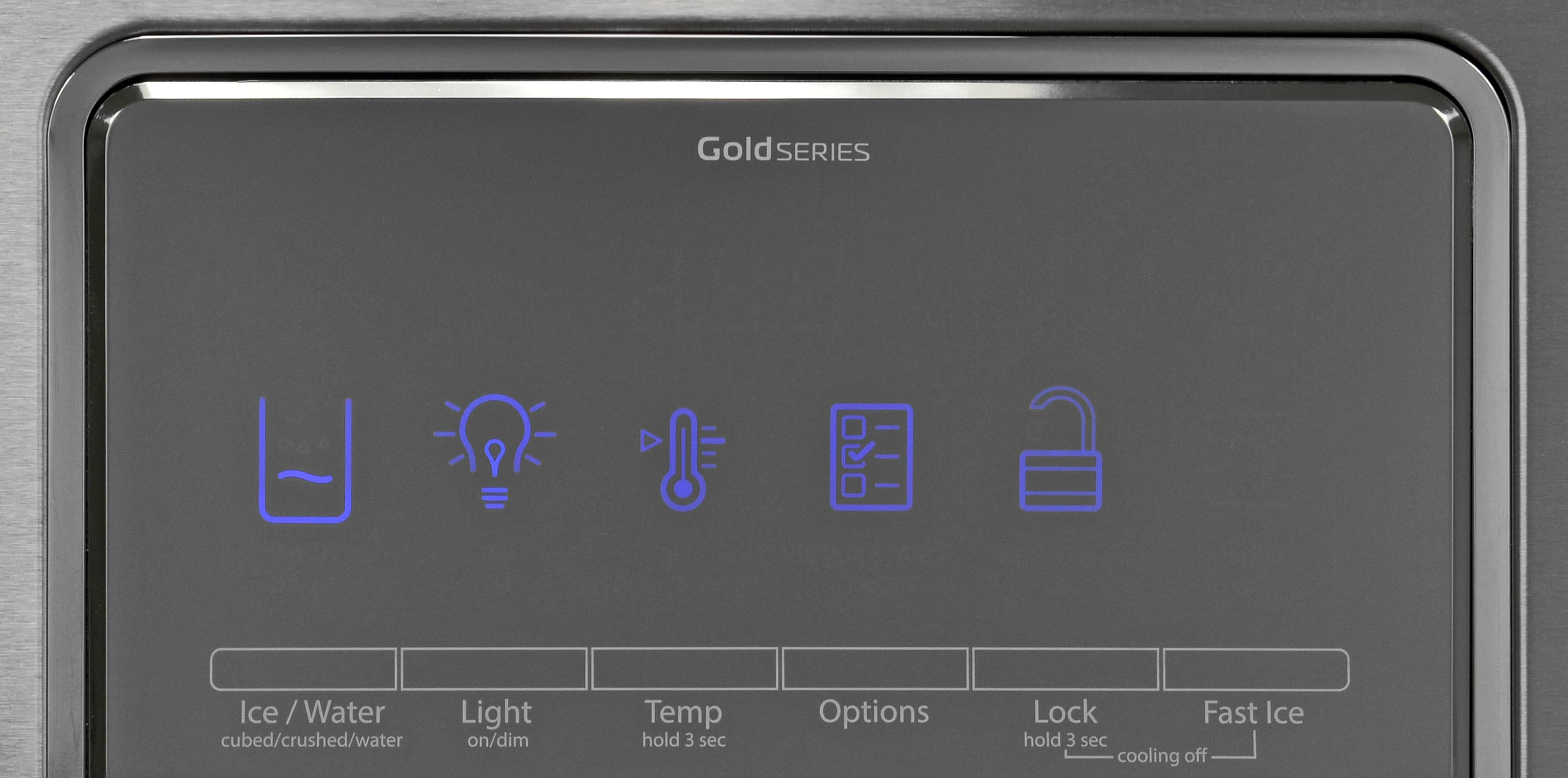 The Whirlpool WRF757SDEM's pale, reflective control panel is responsive and blends in well with the stainless finish.