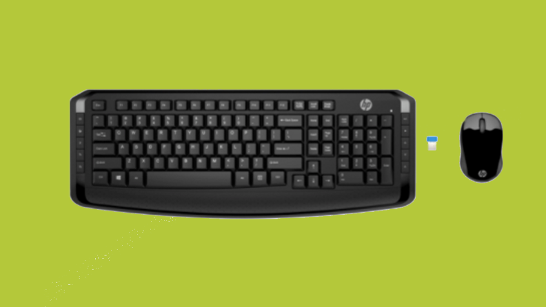 An image of a black keyboard seen from above, alongside a small computer mouse and a USB chip.