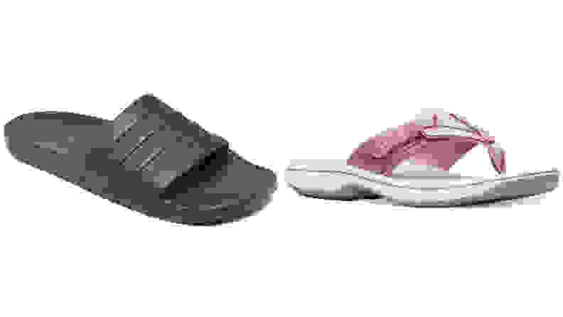 Black Adidas slides and pink Clark sandals on white background.