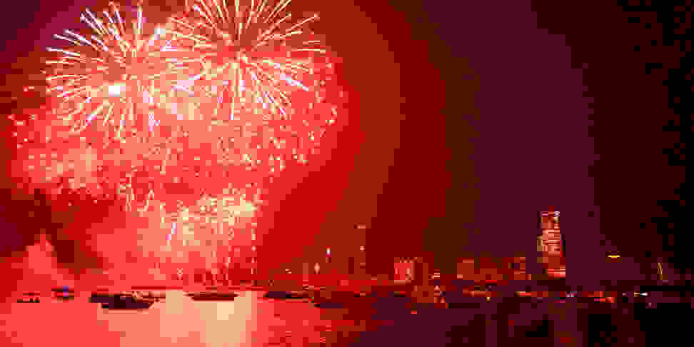 A July 4th fireworks display over the Charles River in Boston