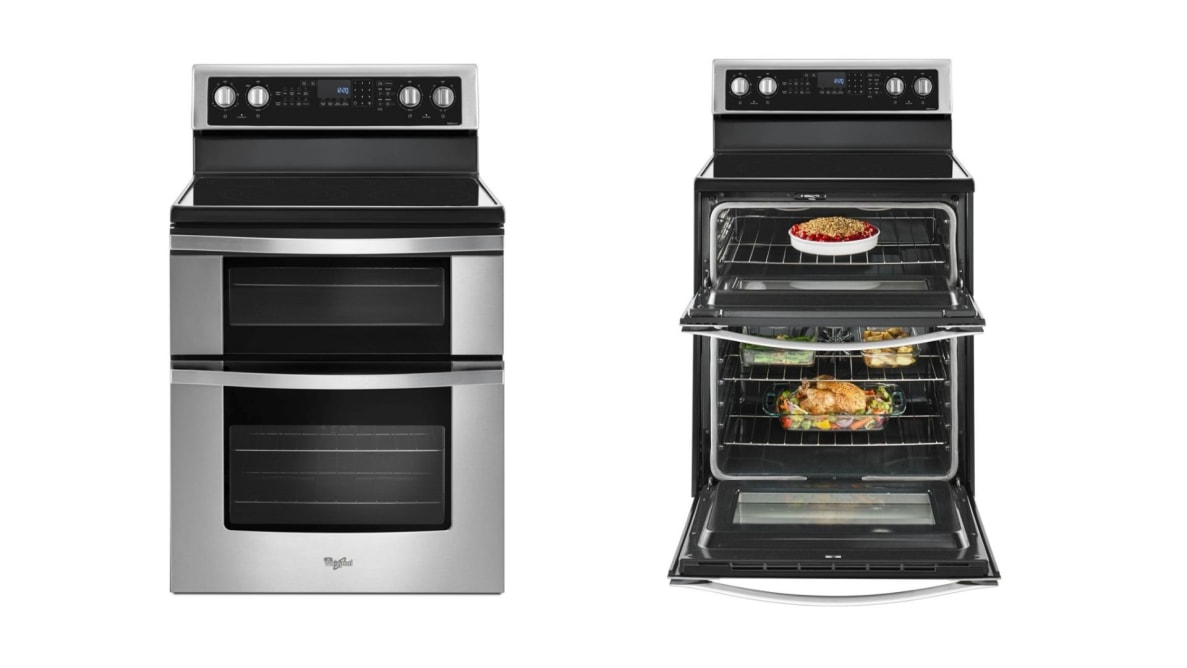 Two silhouetted images of a double oven electric range, one with the oven doors open (right) and the other closed (left).