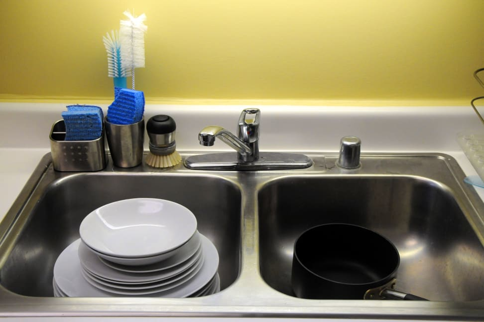 Dishes in a sink