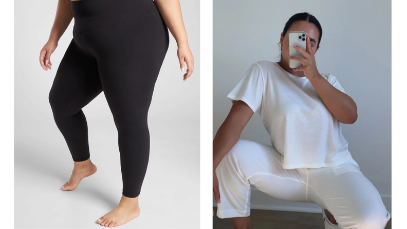 The image is split in two. On the left, a model strikes a pose in black yoga pants. Right: A model poses in white yoga attire.
