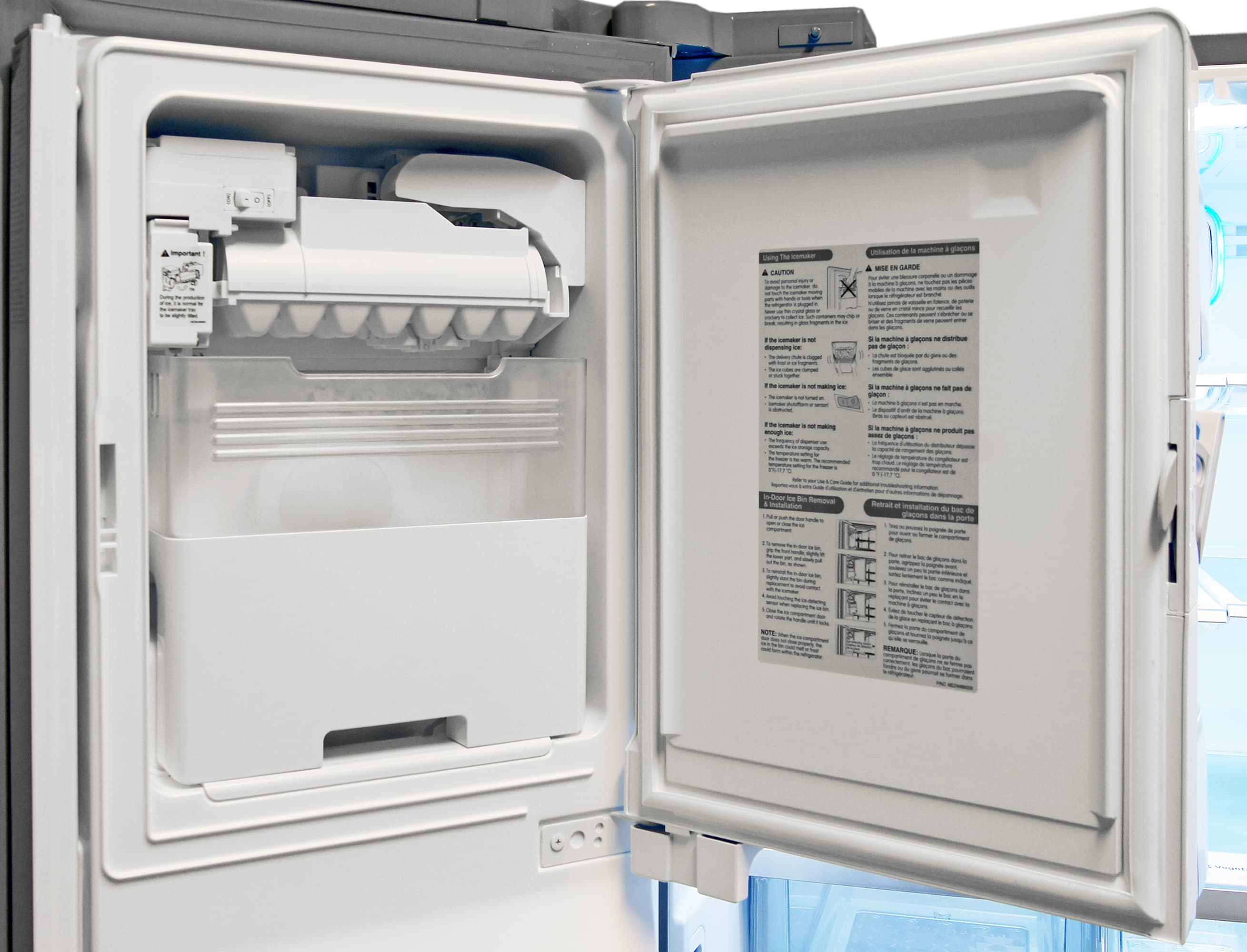 The LG LFX32945ST's door-mounted icemaker takes up minimal space while still serving up plenty of ice.