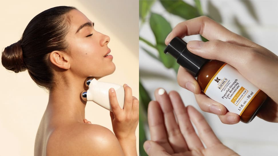 Woman using nuFace and hands spreading Kiehl's