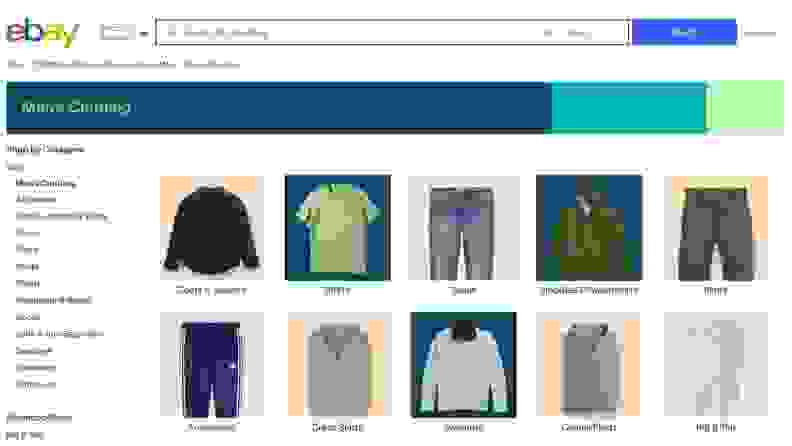 Homepage of eBay for men's clothing and auctions.