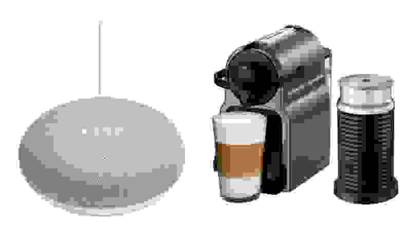 Google Home Mini and Nespresso pod espresso maker