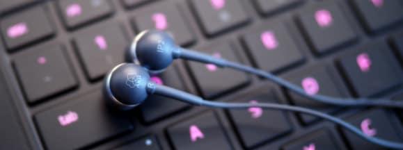 Akg earbuds on razer keyboard