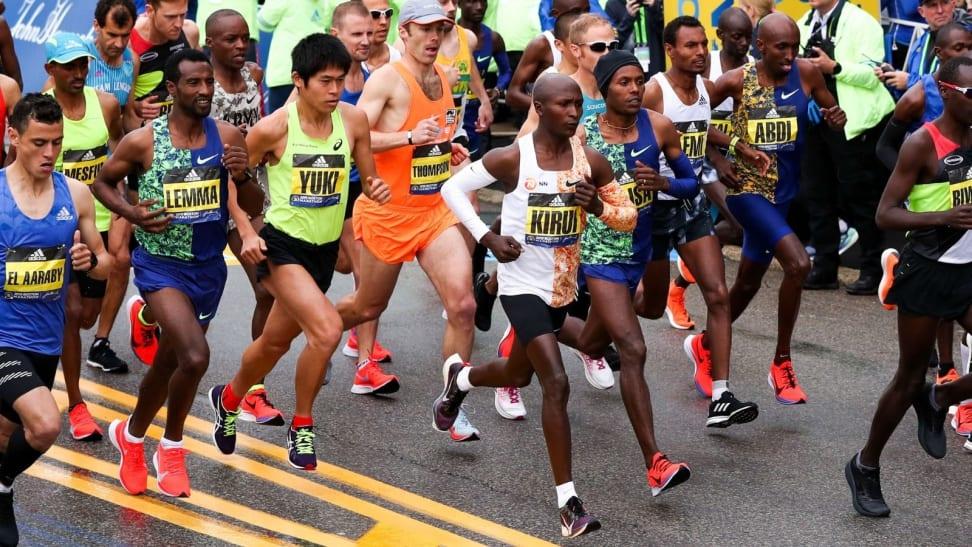 Crowd of runners at the 2019 Boston Marathon.