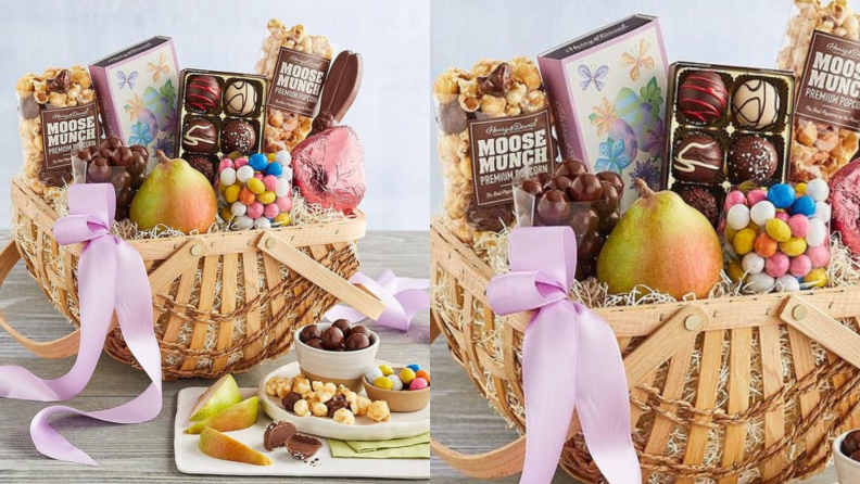 A Harry & David Easter basket full of snacks and fruit