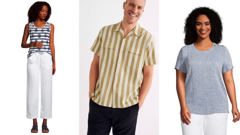 Woman wearing linen pants, man wearing linen shirt, woman wearing linen t-shirt