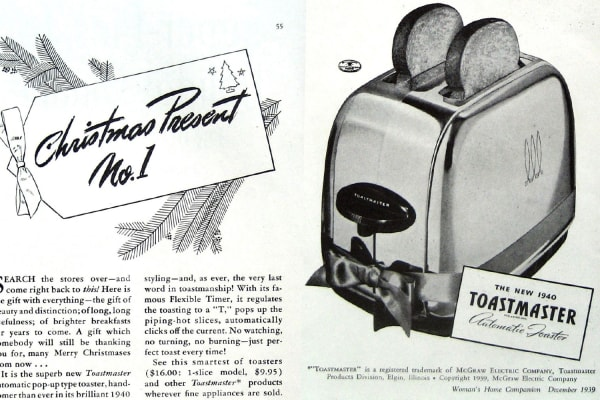 1939 holiday ad for Toastmaster toaster: