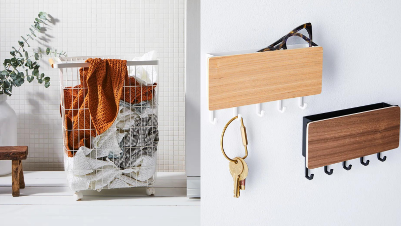 On left, wire hamper filled with clothes in bathroom next to plant. On right, two key racks from Food52.