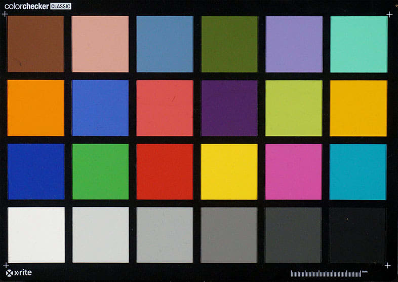 A chart with 18 known colors and 6 monochrome shades of gray enables us to determine how noisy a smartphone camera is.