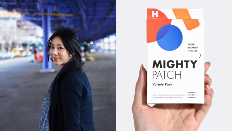 On the left: The founder of Hero looks over her shoulder. On the right: A product shot of a variety pack of hero pimple patches.