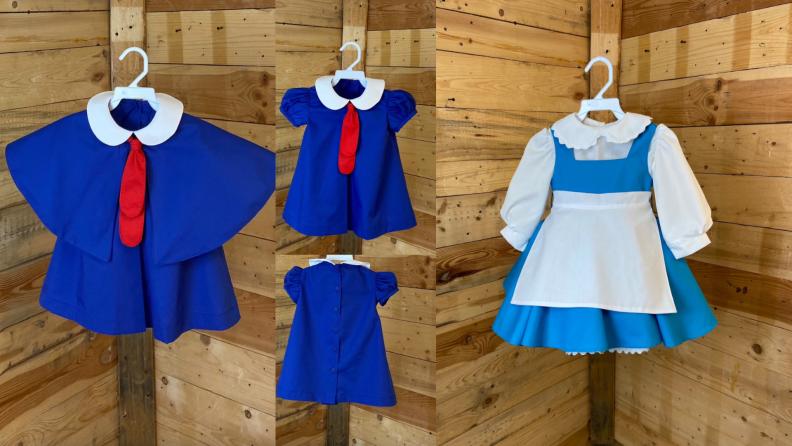 On left, Madeleine Halloween costume. On right, Belle Halloween costume.