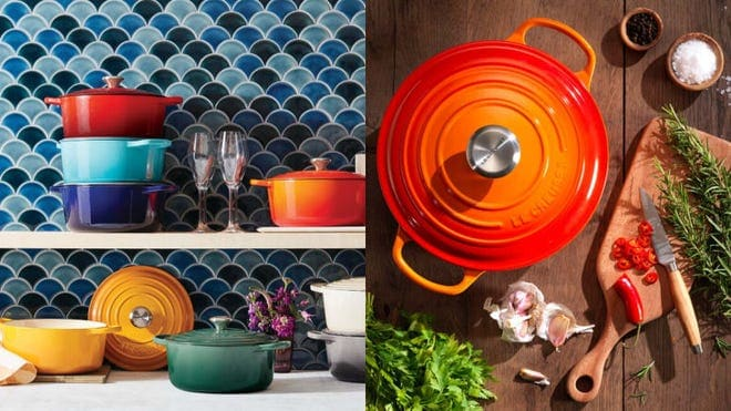 On left, multi-colored Le Creuset ceramic dishes on countertop and shelves in kitchen. On right, orange Le Creuset ceramic dutch oven next to cutting board with vegetables on it.