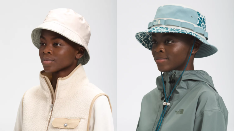 woman wearing bucket hat by The North Face
