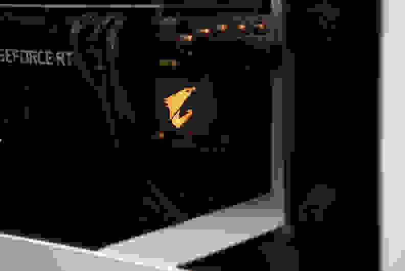 Closeup of motherboard's RGB logo