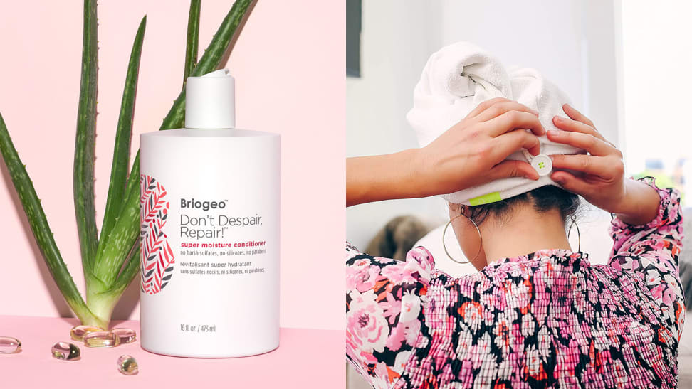 On the left: the Aquis Don't Despair, Repair! Super Moisture Conditioner for Dry + Damaged Hair on a pink background with an aloe plant behind it. On the right: The back of a person's head as they tie the Aquis Lisse Luxe Hair Turban on top of their hair.