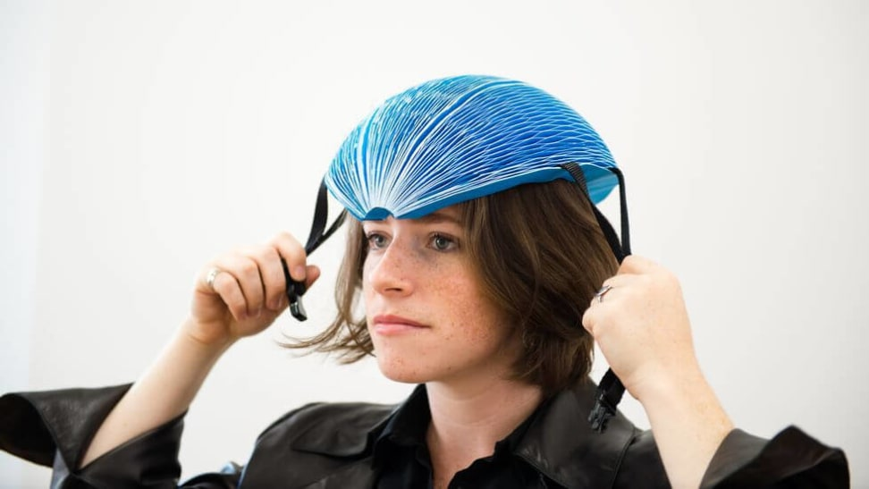This bike helmet is made out of recycled paper.
