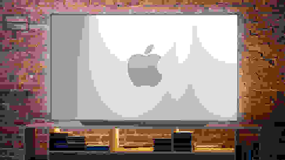 A TV displaying the Apple company logo
