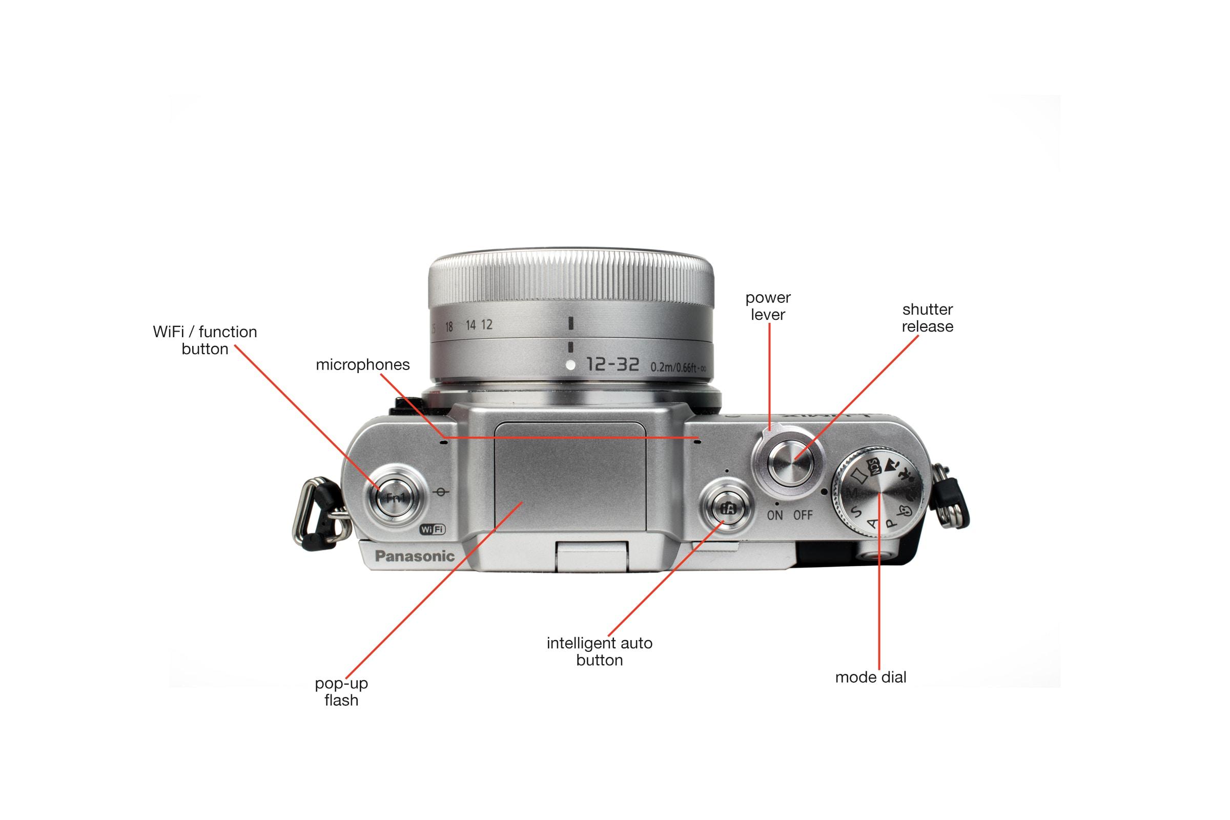 Top view of the Panasonic Lumix DMC GF7 .