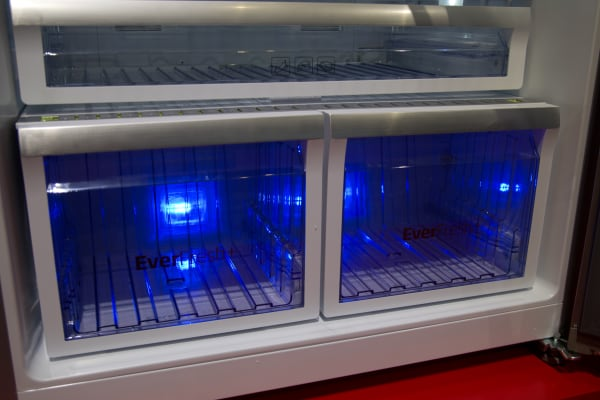 The blue light keeps food fresh longer. It looks pretty cool as well.