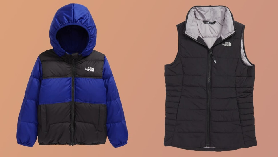 On left, blue and black The North Face puffer jacket. On right, black The North Face puffer jacket.