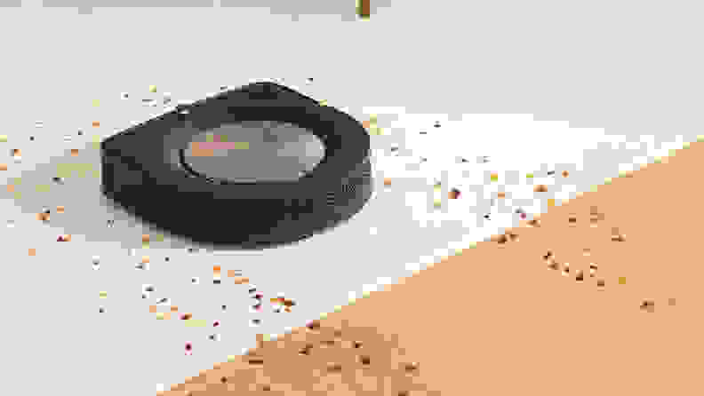 The iRobot Roomba S9+ on cleaning hardwood and carpet.