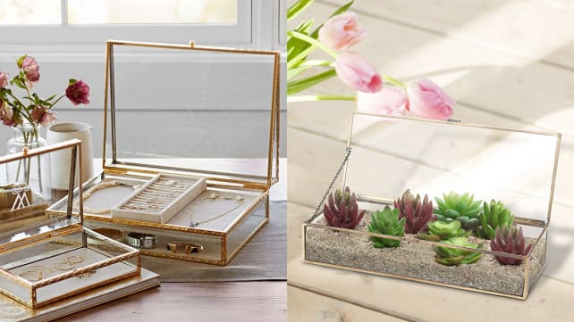 Gold and glass jewelry boxes