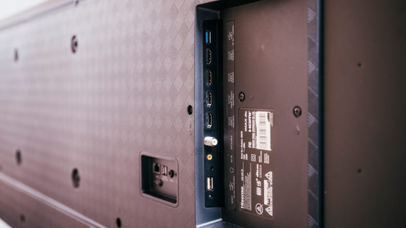 A close-up of the connectivity options on the back of the Hisense U7G's panel