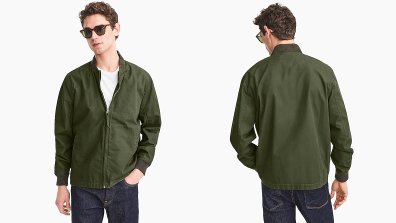 Man wearing sunglasses, white T-shirt, and green bomber jacket from J.Crew.